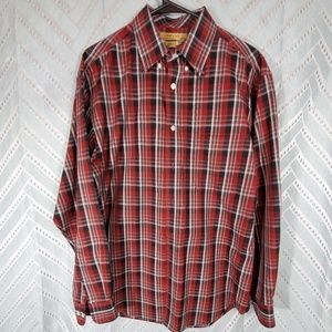 RoundTree & Yorke Gold Label Red Plaid Large Shirt